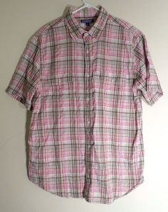 Men's CROFT & BARROW Plaid Cotton Short Sleeve Button Shirt LMULTICOLO2 POCKETS  #CroftBarrow #ButtonFront