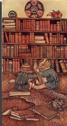 Rare illustration by Ida Rentoul Outhwaite from her first deluxe series, Elves and Fairies, produced in Australia by Thomas Lothian. Her illustrations are her enduring legacy of her love of the Australian bush. I Love Books, Books To Read, My Books, Reading Art, Kids Reading, Reading Time, Reading Books, Reading Buddies, Illustrations