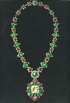 Drawing of Indian inspired necklace - circa 1965-70 © Van Cleef & Arpels Archives