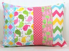 Nursery Pillow Cover - Nursery Decor - Pink Chevron - 12 x 16 Inches - Whimsical Birds