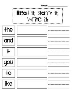 Students will read the sight word, stamp it with letter stamps, and then write it. Seeing the sight word, making it and then writing it, allows the students to practice not only their spelling, but correct letter formation.