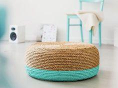diy: taburete low cost con cuerda de sisal y color turquesa