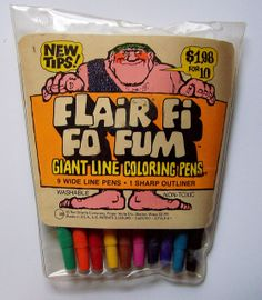 1975 FLAIR FI FO FUM giant line coloring pens