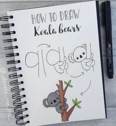 BuJo doodles koala on tree Bullet Journal Writing, Bullet Journal Banner, Bullet Journal Aesthetic, Bullet Journal Ideas Pages, Bullet Journal Inspiration, Doodle Art For Beginners, Easy Doodle Art, Doodle Doodle, Simple Doodles
