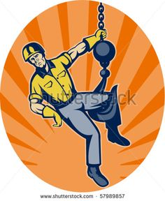 vector illustration of a Construction worker hanging on hook set inside an ellipse with sunburst in background. #constructionworker #retro #illustration