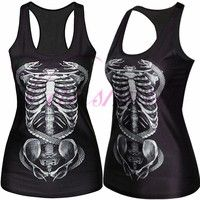 Wish | WOMEN'S FASHION X-ray Digital Print Tank Top Clubwear Gothic Punk T-Shirt -free size