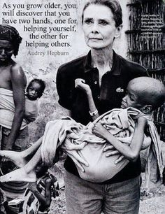 Audrey Hepburn spent many years in Africa helping the helpless. Yet all the pictures on Pinterest show her as a fashion icon. Fashion passes in a wink, compassion lasts forever.  You can follow me: https://www.pinterest.com/SA_Recovery