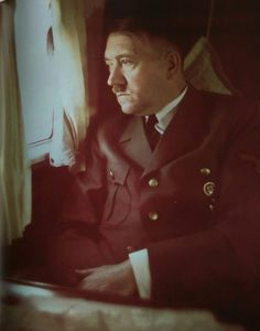 Hitler looking pensive on his private plane