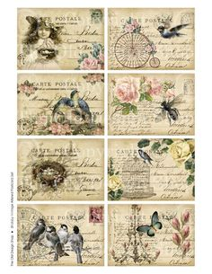 SHABBY ALTERED ATC Postcards Digital Collage by TheOldDesignShop, $3.50