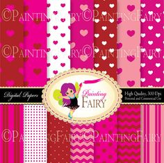 """Valentine's Day Digital backgrounds papers Pink Sweet Heart Polka Dot Chevron 8,5 x 11"""" paper pack printable Love theme backgrounds pf00072b Digital item, instant download"""