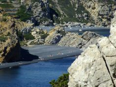 The black sand beaches of Chios, Greece