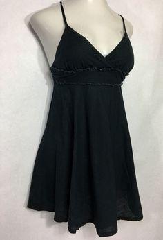 Womens FREE PEOPLE Black Linen Sun Dress / Spaghetti Strap Empire Waist 4 #FreePeople #EmpireWaistSundress #Formal