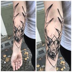 Black deer tattoo