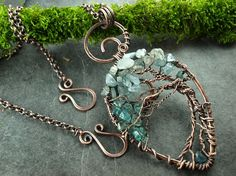Anhänger Lebensbaum Baum Aquamarin Kupfer copper