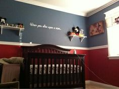 paint idea for a boy's room, but bolder colors of blue/red for batman/capt america themed room with a bit of a classic look to it