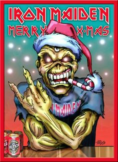 Iron Maiden - Merry X-mas Hard Rock, Heavy Metal Christmas, Iron Maiden Mascot, Iron Maiden Posters, Iron Maiden Albums, Eddie The Head, Music Pics, Heavy Metal Bands, Rock Posters