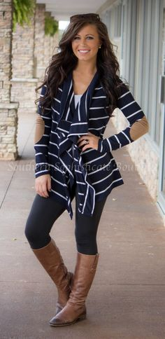 Navy Striped Elbow Patch Cardigan / Southern Sophisticate Boutique