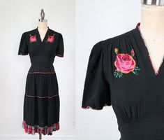 Hey, I found this really awesome Etsy listing at https://www.etsy.com/listing/178281915/1930s-dress-hand-painted-roses-dress-m