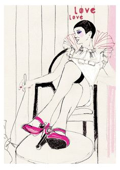 Pink Love illustration by Lola Donoghue  via Etsy.