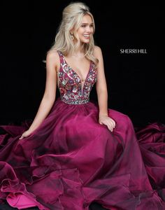 Sherri Hill 51391 Magenta Maroon Dark Pink Flowy Dress with beaded bodice deep v neckline Ypsilon Dresses Prom Pageant Evening Gown Special Occasion Dress Black Tie Red Carpet Event Party Holiday Dress School Dance Inspiration Homecoming Sweethearts Formal Formalwear