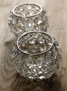Glass Crystal Candle Holders Set of Two $24 set (highest quality)