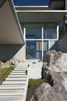 Front Home with Natural Gardening from Modern Fresh Home Design with the Rocky Landscape Idea