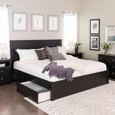 King Select 4 - Post Platform Bed With 4 Drawers Black - Prepac : Target Black Bedroom Furniture, Bed Furniture, Home Decor Bedroom, Furniture Design, Master Bedroom, Barbie Furniture, Garden Furniture, Master Suite, Black Bedroom Decor