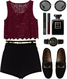 Need: Maroon crop top/tank, black shorts, black loafers with gold accent, circular glasses