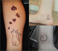 kleine Katzen Tattoos mit feinen Linien am Handgelenk, Bein und Knöchel