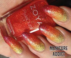 Nails ~ Orange and Gold Ombre using Julie G Nail Polish