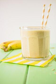 Peanut-Butter Banana Oatmeal Smoothie- 1 C Almond Milk, 1/4 C oats, 1 frozen banana, 2TBS Natural PB (We use 3TBS PB2)