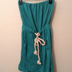 NWT Alternative Earth Rope Belt Dress Brand new with tags Teal dress with a rope belt. 2 front pockets. Very cute. Size small. Dresses