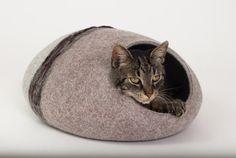 Katze Bett/Katze Höhle/Katze Haus/Grau/dunkel braun gefilzte