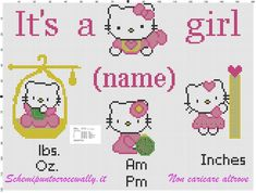 hello kitty quadretto nascita schema punto croce gratis
