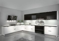 Fall in love with black and white glossy kitchen designs!