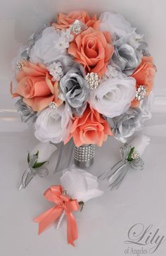 17 pieza paquete flores boda ramo de Novia de por LilyOfAngeles