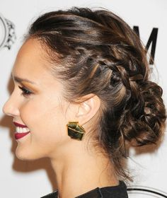 Brown caramel with braided Hairstyle