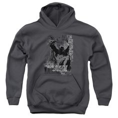 BATMAN/THE KNIGHT LIFE-YOUTH PULL-OVER HOODIE - CHARCOAL -