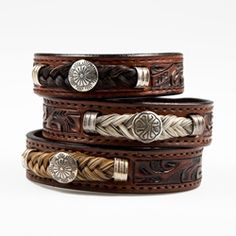 Tooled Leather Horsehair Bracelet with Concho