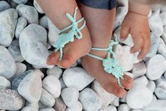 Mint Crochet Baby Barefoot Sandals Baby Foot by Kreacje on Etsy