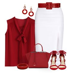 """Red and White"" by terry-tlc ❤ liked on Polyvore featuring Cushnie Et Ochs, Steve Madden, Fendi, Alice + Olivia and Dettagli"