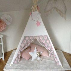@benogjo shabby chic teepee tent with tilda fabric. Homemade teepee from benogjo on instagram. Girls room tent