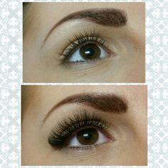 4D Volume eyelash extensions or otherwise known as russian volume lashes on gorgeous big brown eyes!