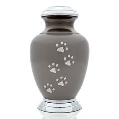 Arcadia Series cat Urn, Slate Color with Pewter Paws and Chrome Top and Base >>> Hurry! Check out this great product : Cat Memorials