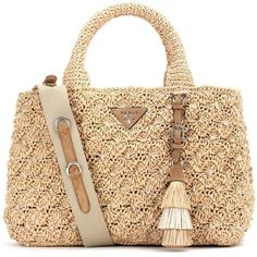 Prada Rafia Tote (€1.670) ❤ liked on Polyvore featuring bags, handbags, tote bags, prada, beige, handbags totes, prada tote, beige tote bag and tote hand bags