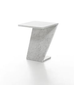 Tiltino is a side table in white Carrara marble with a matt polished finish, measuring 350mmLx350mmLx420mmH....