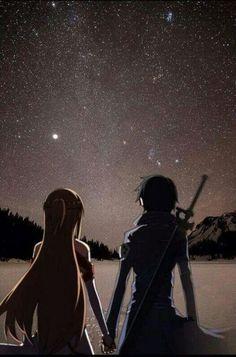 Asuna (Yuuki Asuna) & Kirito (Kazuto) - By Sword Art Online Kirito Asuna, Kirito Kirigaya, Sao Ggo, Schwertkunst Online, Arte Online, Online Anime, Sao Anime, Manga Anime, Film Anime