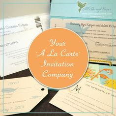 Welcome to the first 'A LA CARTE' Invitation Company.  What does that mean for you? It means we will do YOUR wedding invitations YOUR way. Use all our services or just a few.  Make an appt today:  847-882-8142 We Can:  - Address your envelopes - Create place cards - Design & create menus - Sell you just paper (we have more than any local store) - Design & print, with self assembly - Complete, full-service design & assembly & more!