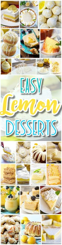 The BEST Easy Lemon Desserts and Treats Recipes - SPRING and SUMMER in dessert form! Perfect For Easter, Mother's Day Brunch, Bridal or Baby Showers and Pretty Spring and Summer Holiday Party Refreshments - Dreaming in DIY Mini Desserts, Lemon Desserts, Lemon Recipes, Köstliche Desserts, Summer Desserts, Delicious Desserts, Dessert Recipes, Yummy Food, Summer Treats