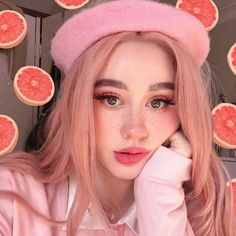 This photo shows an example of what hyper-femininity looks like to me. The softer and youthful look created with the sweeping rosy blush around apples and cheekbones. The rosy pink is also used on the Aesthetic Hair, Aesthetic People, Aesthetic Makeup, Pink Aesthetic, Nose Makeup, Blush Makeup, Beauty Makeup, Soft Make-up, Soft Makeup Looks